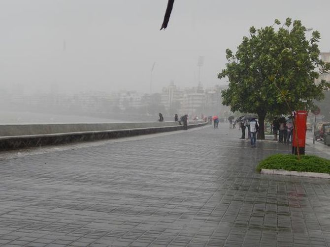 Marine Drive promenade during the rains.