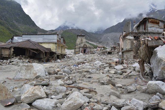 The Kedarnath temple amid damaged surroundings by flood waters.
