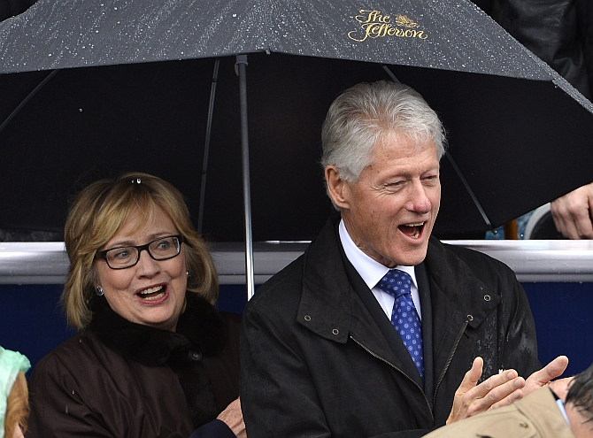 Hillary Clinton with her husband Bill in Richmond, Virginia
