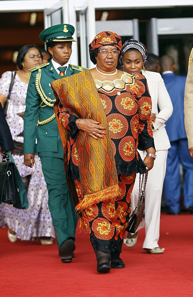 Malawi's President Joyce Banda arrives at the Abuja International Conference Centre