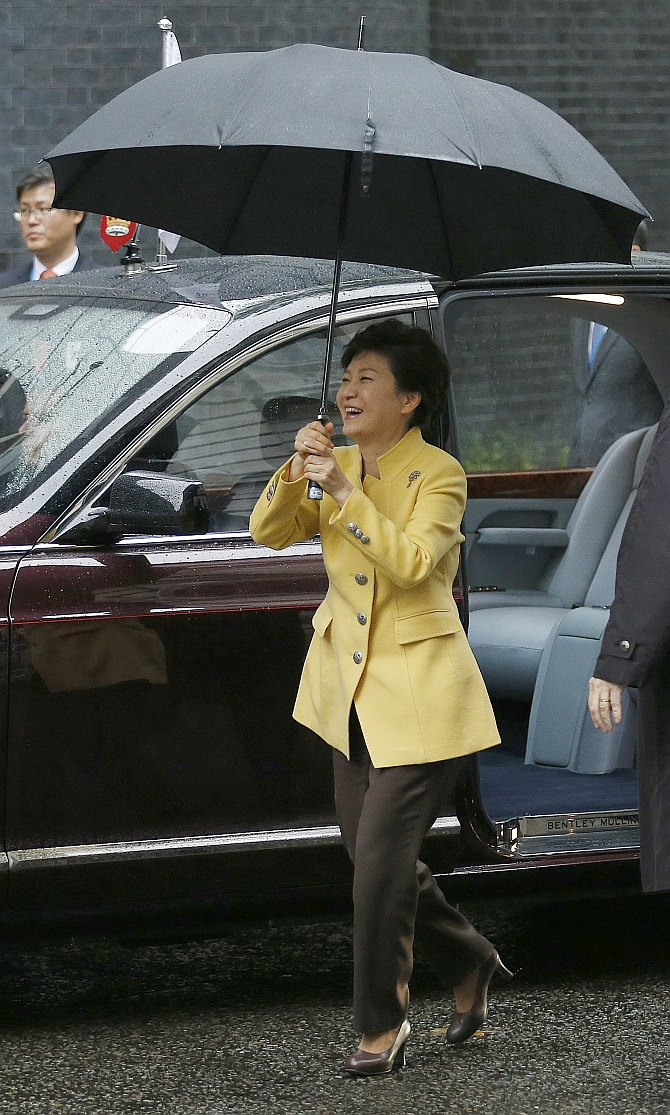 South Korea's President Park Geun-hye arrives in Downing Street in central London