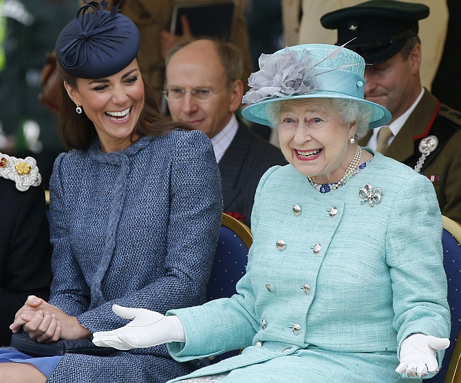 Queen Elizabeth shares a light moment with Catherine, Duchess of Cambridge
