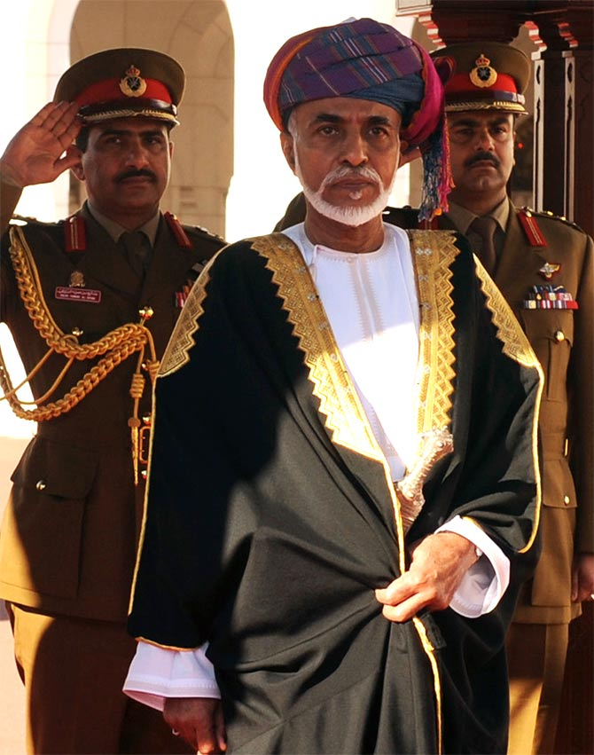 Sultan Qaboos bin Said at the Al Alam Royal Palace in Muscat