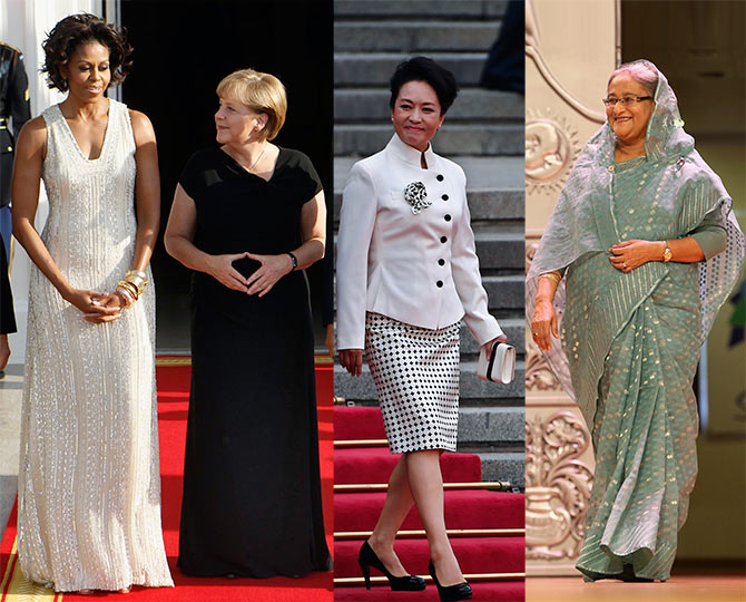 US First Lady Michelle Obama, German Chancellor Angela Merkel, China's First Lady wife Peng Liyuan and Bangladesh Premier Sheikh Hasina