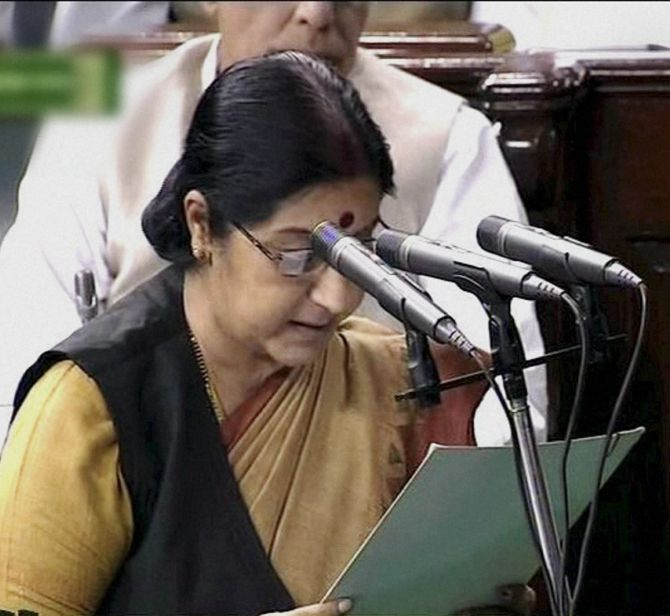 Sushma Swaraj takes the oath