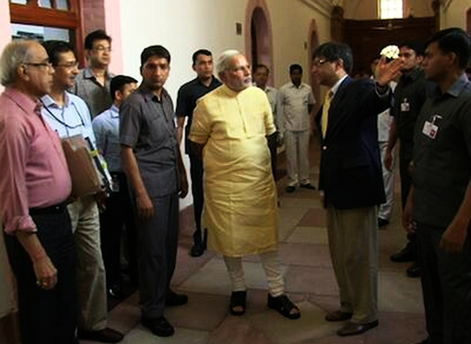 Prime Minister Narendra Modi at the South Block in New Delhi