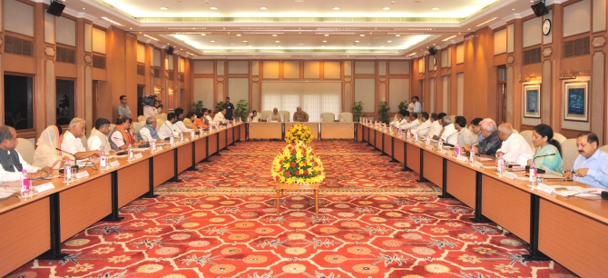 Prime Minister Narendra Modi chairing a meeting of the council of ministers in New Delhi.