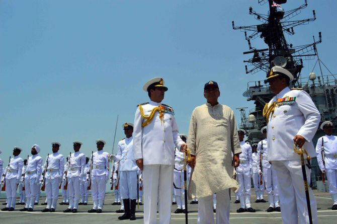 PHOTOS: Arun Jaitley reviews preparedness at Western Naval Command