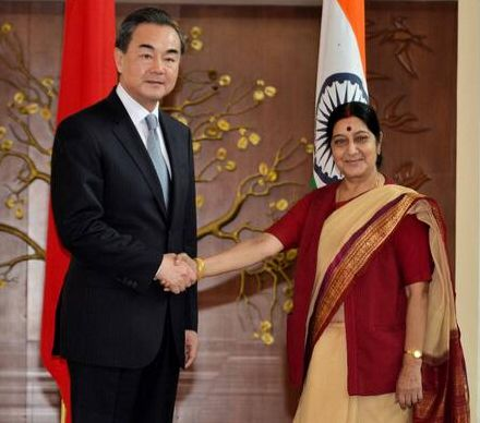 Wnag Yi with Sushma Swaraj