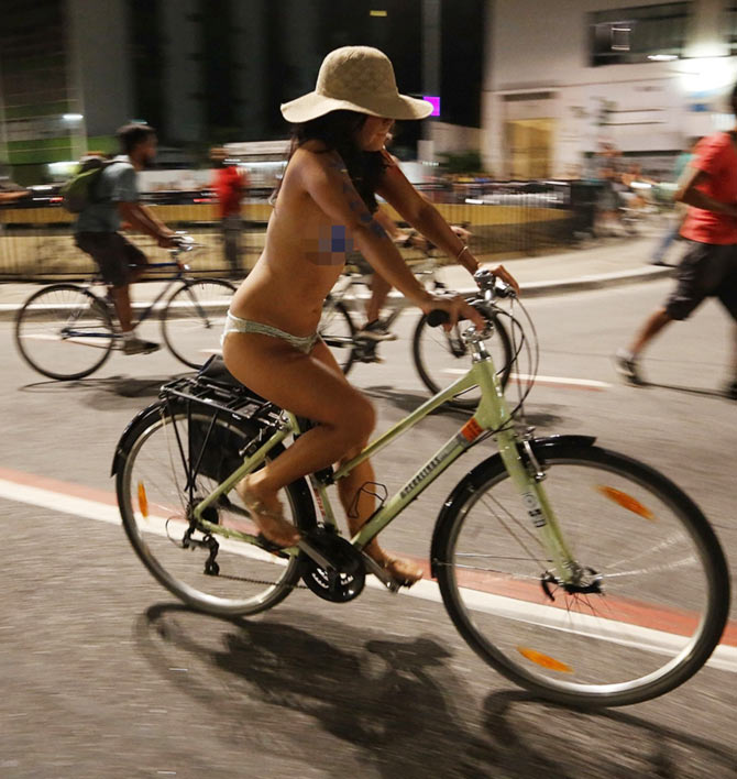 Nude bikers take to the streets
