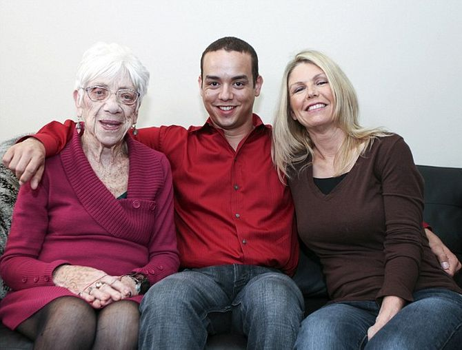 Kyle Jones with his girlfriend (left) and his mother.