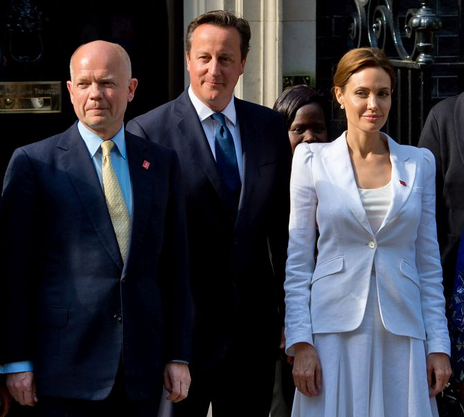 British Foreign Secretary William Hague, British Prime Minister David Cameron and Angelina Jolie before the meet.