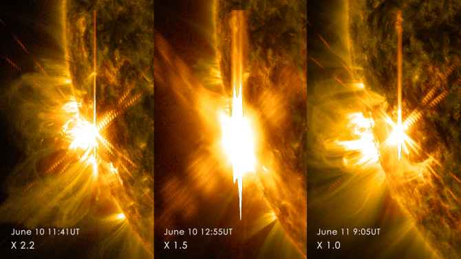 Combination photo showing the three solar flares