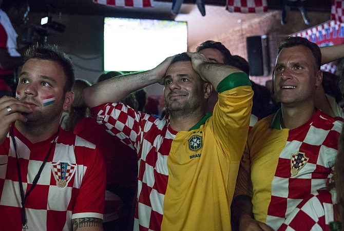 Croatian fans react during the opening match of the 2014 World Cup
