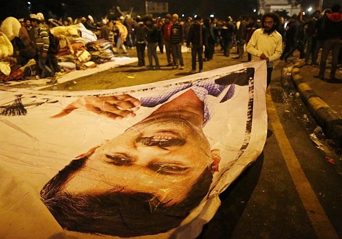 A poster of Aam Aadmi Party leader Arvind Kejriwal
