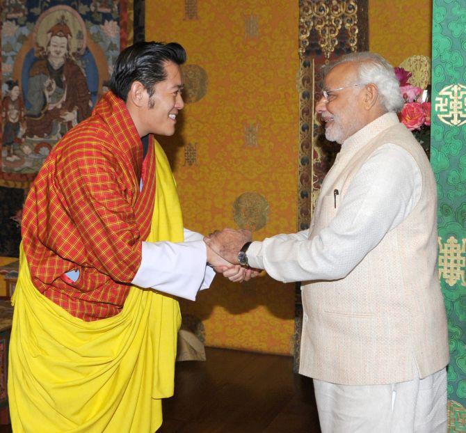 Prime Minister Narendra Modi greets Bhutan King King Jigme Khesar Namgyel Wangchuk.