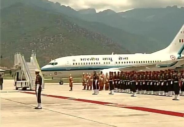 Modi's plane arrives at the airport