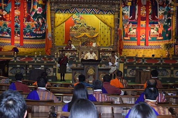 Prime Minister Narendra Modi addresses the Parliament in Thimpu, Bhutan