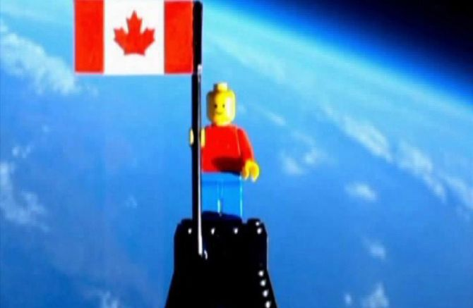 A video grab of the Lego figurine that was sent into space.