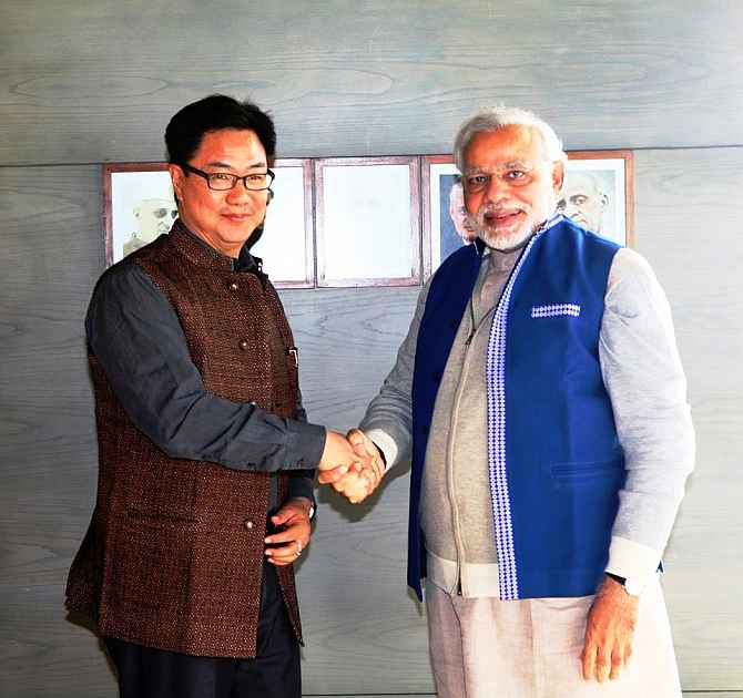 MoS for Home Kiren Rijiju with Prime Minister Narendra Modi