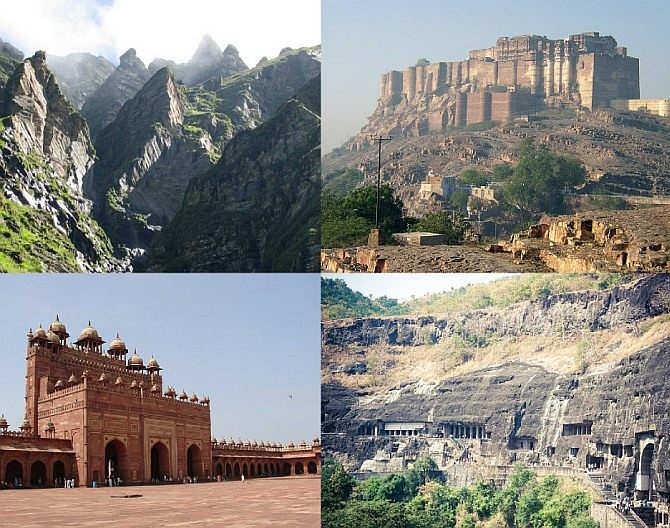 (Clockwise): Mehrangarh Fort, Ajanta Caves, Fatehpur Sikri and The Great Himalayan National Park