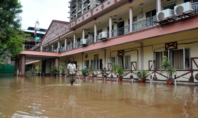 Flood affected area of the Assam legislative assembly, Dispur in Guwahati.