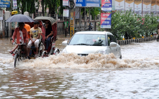 A flood affected area in Guwahati