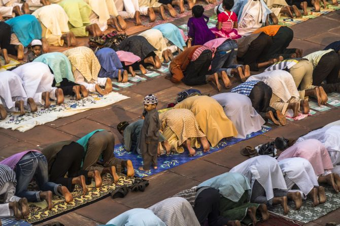 Muslims offer prayers during Ramzan.