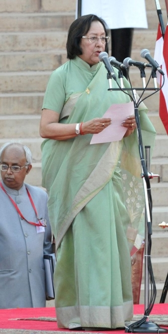 Minority Affairs Minister Najma Heptullah being sworn in as minister