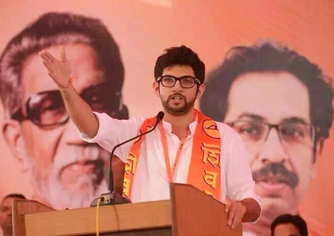 Aditya Thackeray at a public rally in Mumbai