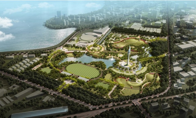 A proposed aerial view of the vision of Mahalaxmi racecourse with theme park