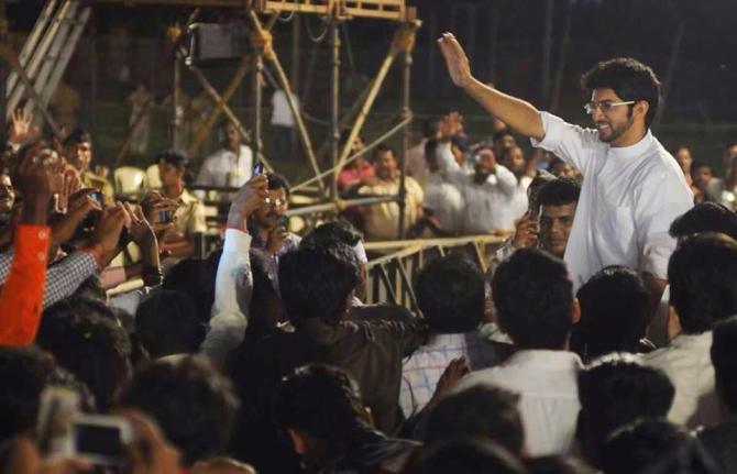 Aditya at a public rally in Mumbai