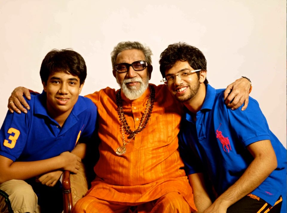 Aditya with brother Tejas and their grandfather, the late Shiv Sena patriarch Bal Thackeray