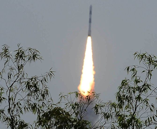 The PSLV-C23 takes off from Sriharikota.