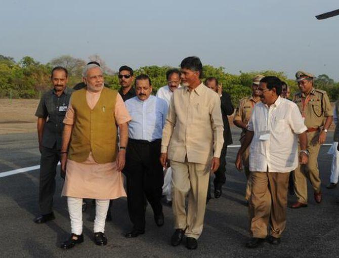 PM Narendra Modi with Andhra Pradesh CM Chandrababu Naidu
