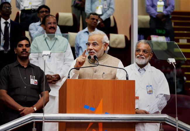 Prime Minister Modi addresses ISRO scientists at the PSLV launch. Photograph: PTI Photo