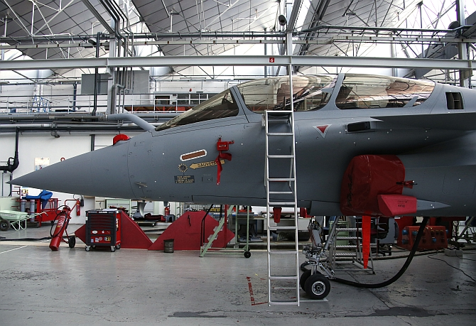A Rafale jet fighter is seen on the assembly line in the factory of French aircraft manufacturer Dassault Aviation in Merignac near Bordeaux, southwestern France