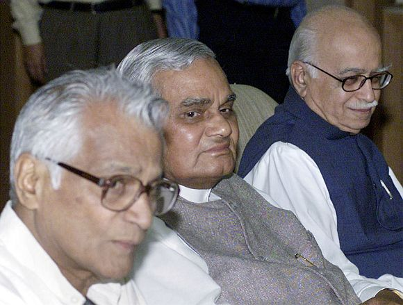 Atal Bihari Vajpayee with L K Advani and George Fernandes