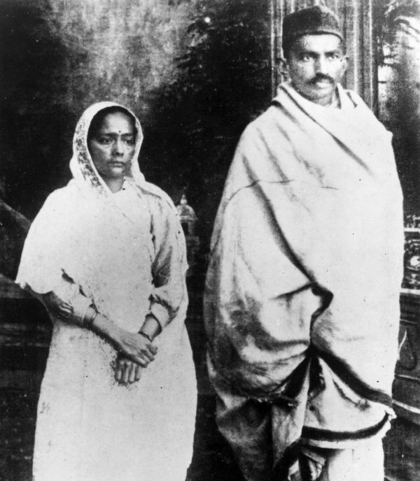 Mahatma Gandhi with Kasturba Gandhi