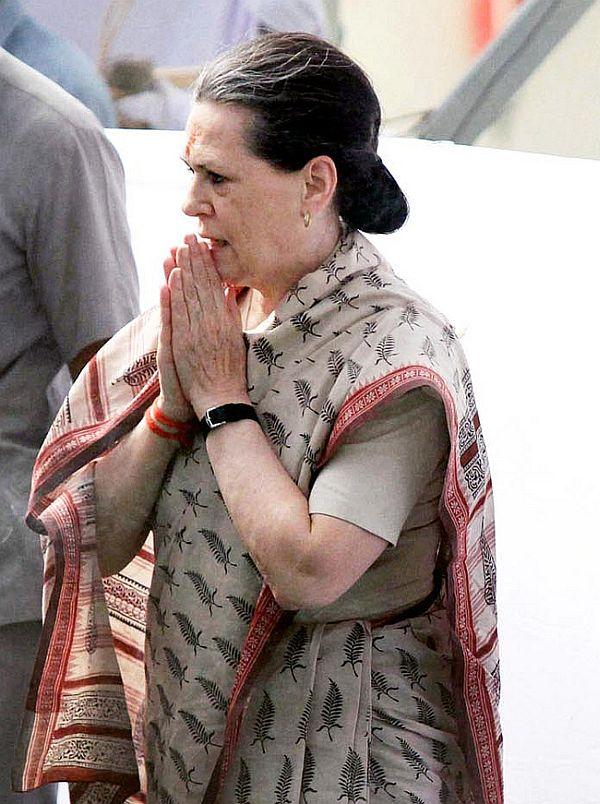 Sonia Gandhi at her parliamentary constituency Rae Bareli