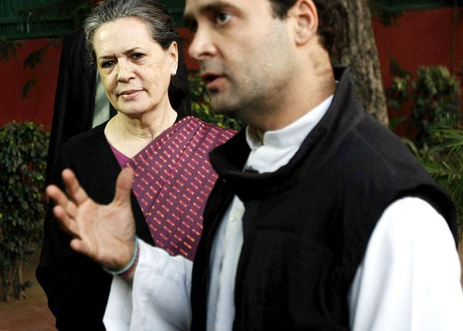 Sonia Gandhi watches Rahul Gandhi address media persons in New Delhi