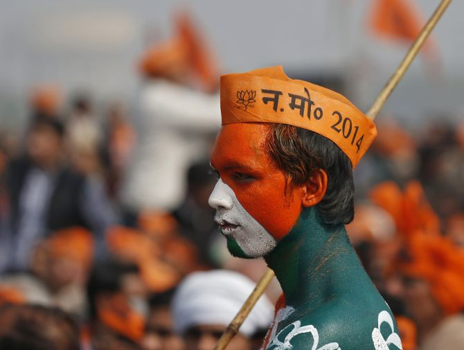 A BJP supporter at a rally addressed by Narendra Modi, the party's prime ministerial candidate, at Meerut in Uttar Pradesh.