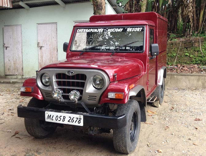 The jeep gifted by the Desais is parked outside the Ryen home. It bears Dinesh and Joy Desai's names.