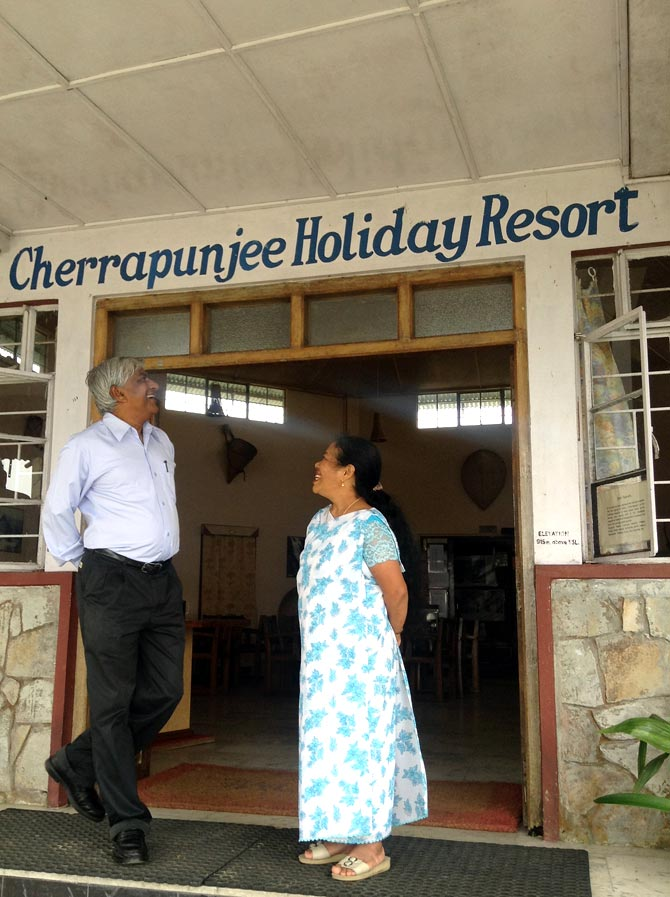 Denis Ryen and his wife Carmela at their resort in Cherrapunjee.