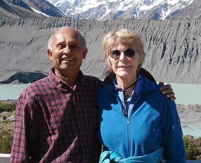 Dinesh Desai with his wife Joy, below Mount Cook, New Zealand.