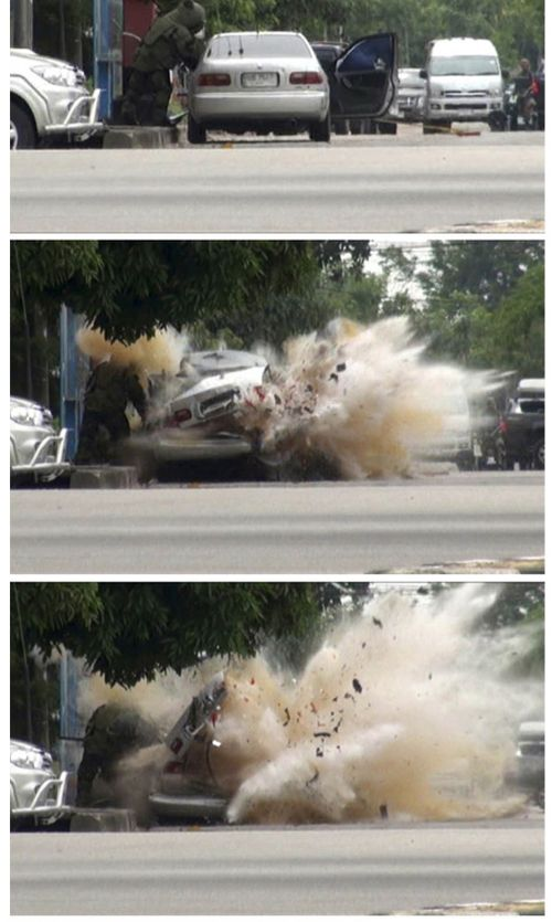 A car explosion caught on camera