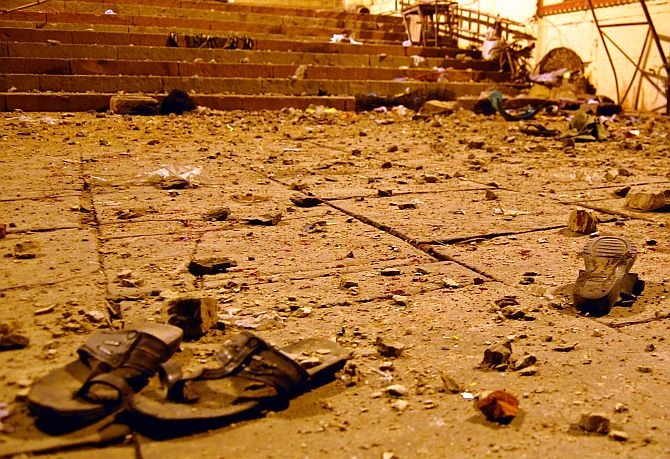 File photo of the blast outside a temple in Varanasi
