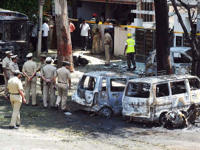 File photo of the explosion site near BJP Karnataka Headquarters in Bangalore in 2013