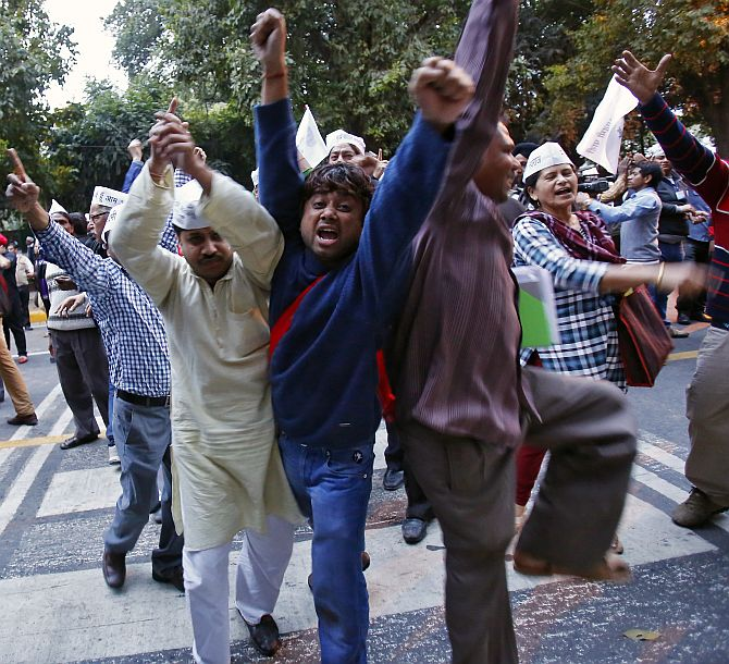 AAP supporters shout slogans during the protest