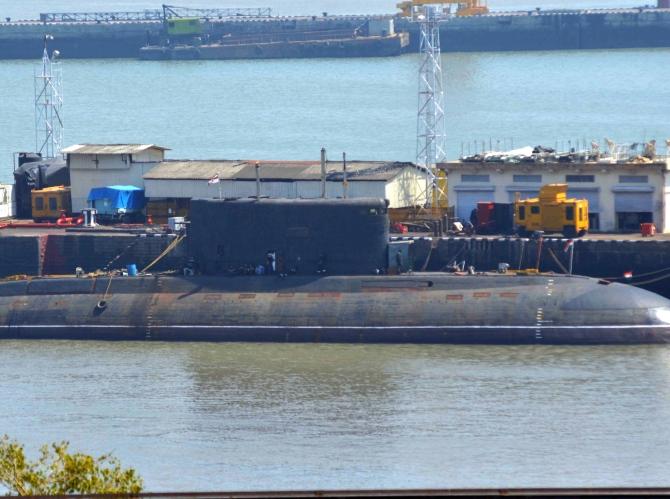 INS Sindhuratna docked at the naval base in Mumbai